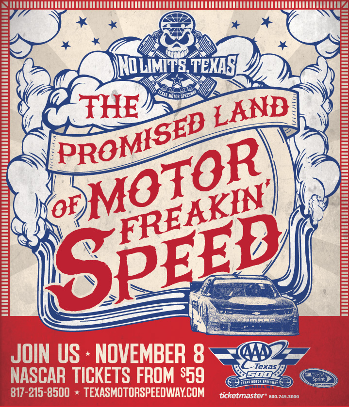 Texas Motor Speedway Travel Marketing Case Study Promised Land Print Ad