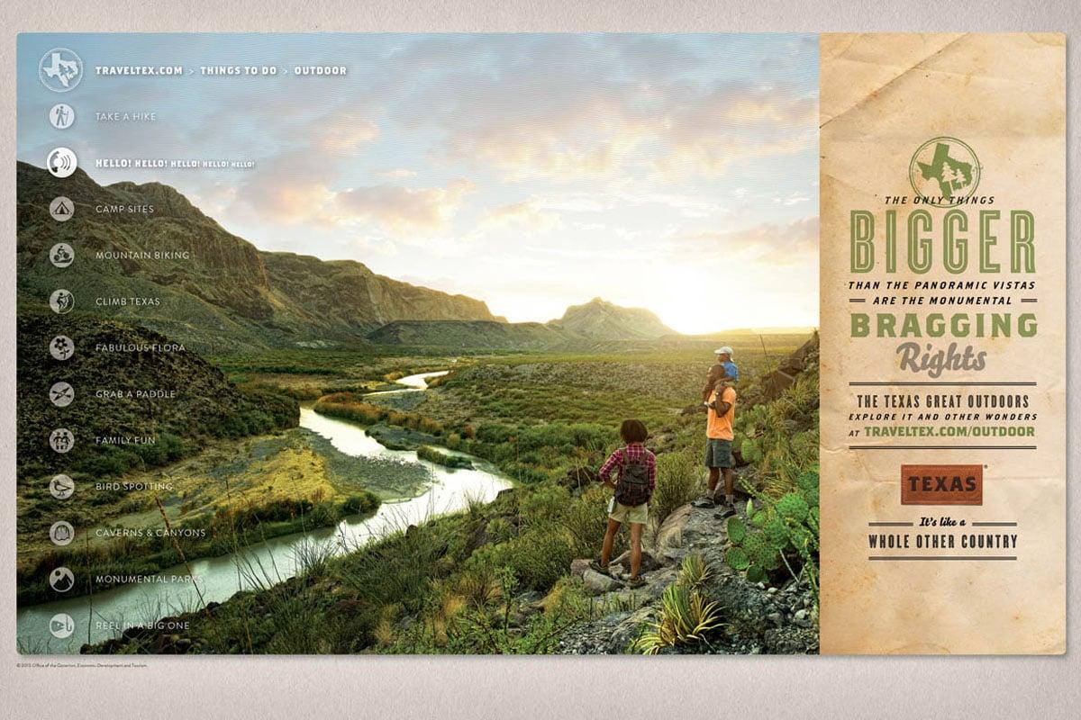 Texas Tourism Travel Marketing Case Study Texas Outdoor Print Ad