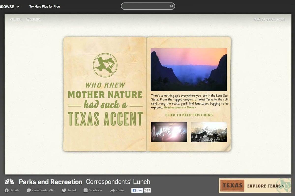 Texas Tourism Travel Marketing Case Study Hulu Digital Video
