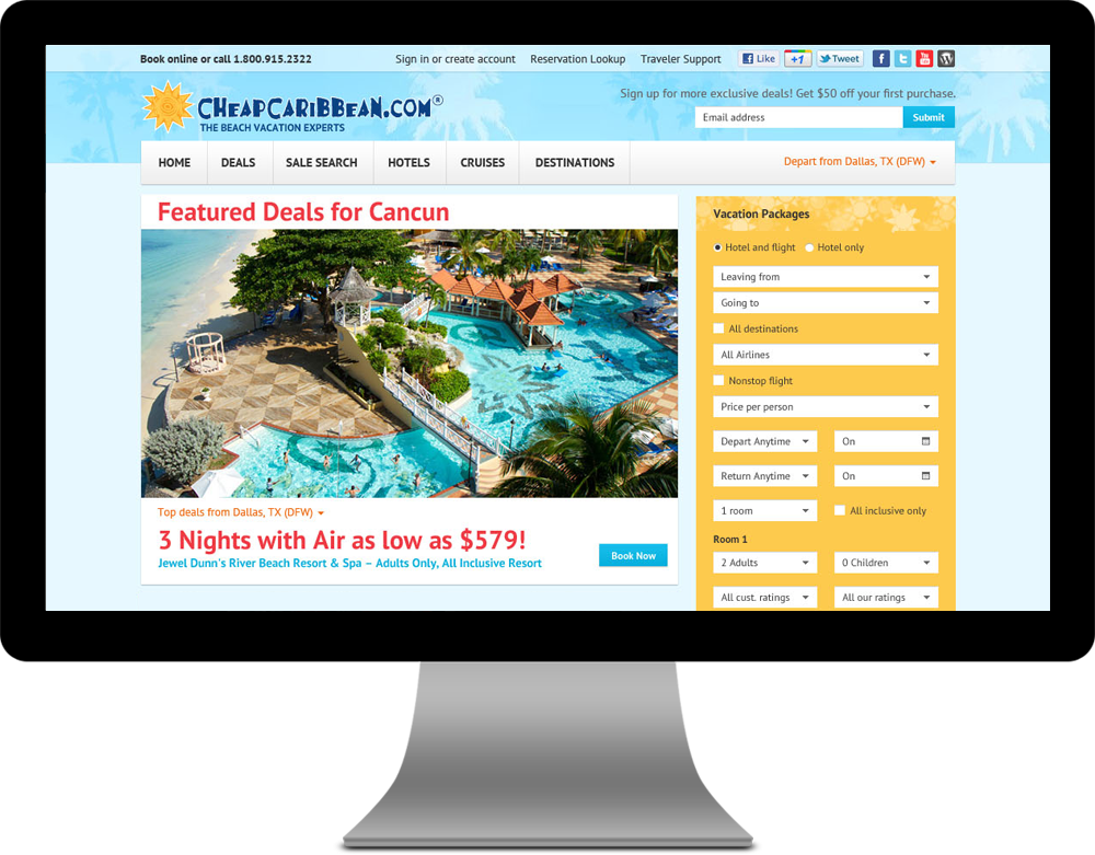 Cheap Caribbean Travel Case Study Website Design